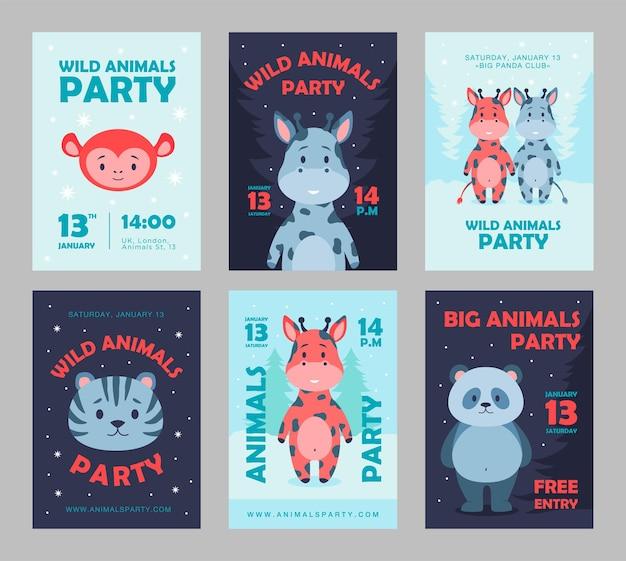 野生動物のパーティーのポスターは、漫画のイラストを設定します。動物のパーティーのためのかわいい獣のテンプレート。フラットでカラフルなデザインのライオン、パンダ、サル、キリンのキャラクター。パーティー、動物、自然、動物園のコンセプト