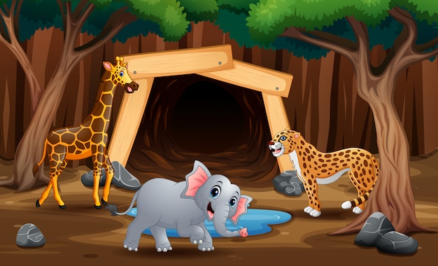 A wild animal playing in nature illustration