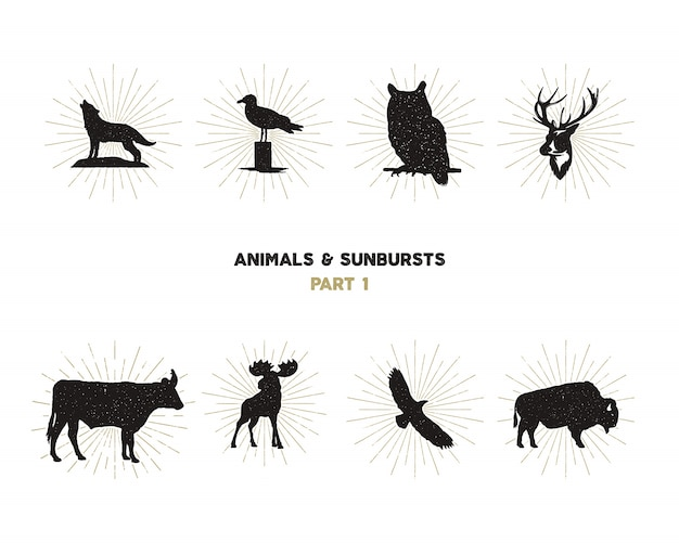 Wild animal shapes set. silhouette animals