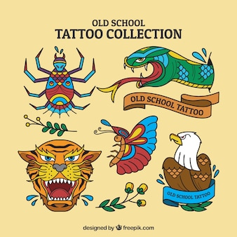 Wild animal tattoo set