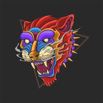 Дикое животное голова тигра красочные иллюстрации