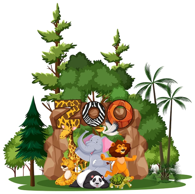 Wild animal or zoo animal group with nature elements on white background