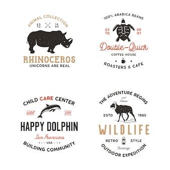Wild animals badges templates