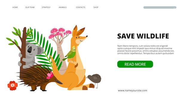 Баннер диких животных. сохраните дикую природу и иллюстрацию природы. шаблон целевой страницы вектор коала, попугай и кенгуру