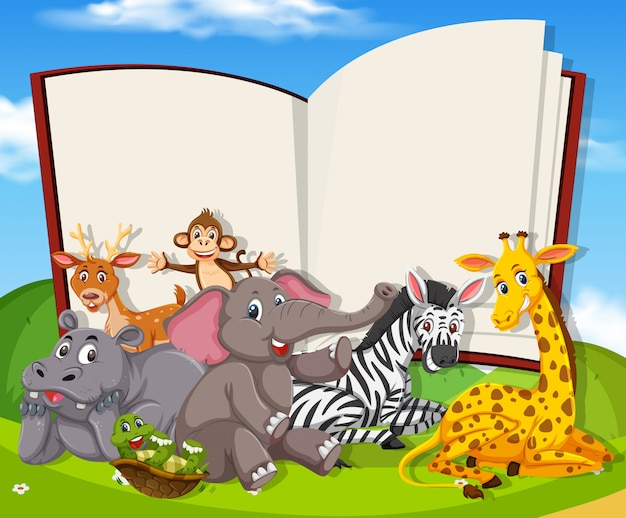 Wild animals on the blank book template