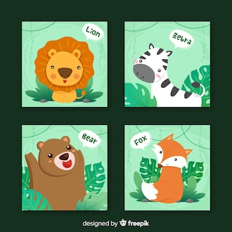 Wild animals card collection, cartoon style