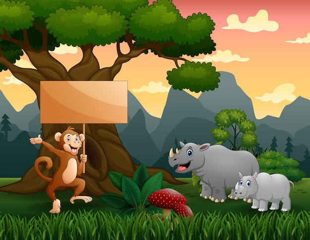 Wild animals cartoon in the jungle