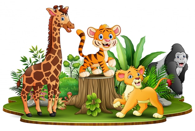 Wild animals cartoon in the park with green plants