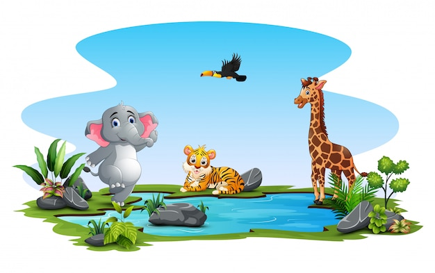 Wild animals cartoon playing in the pond