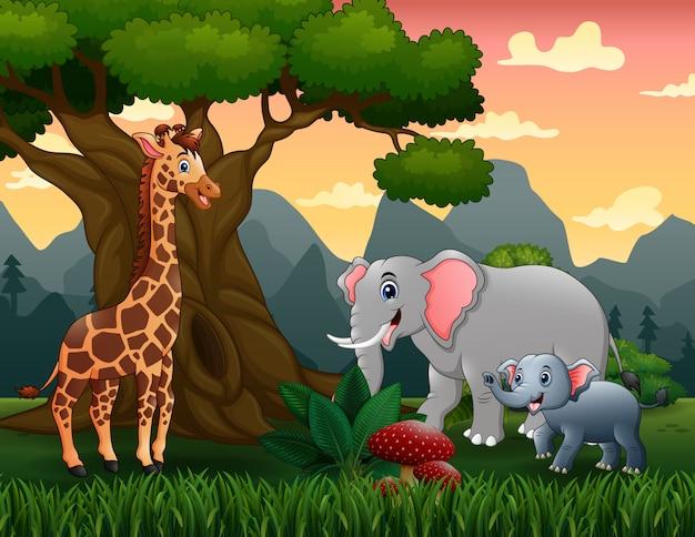 大きな木の下の野生動物漫画