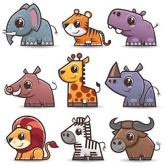 Wild animals cartoons set