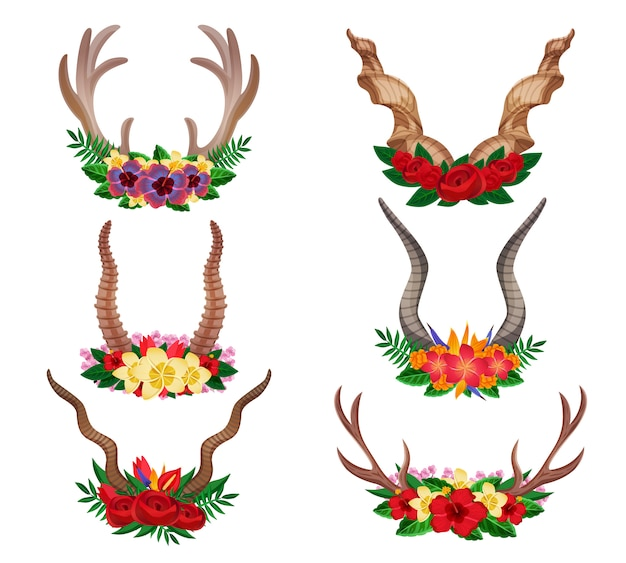 Wild animals dear mountain goat moose ornamental floral horns set decorated with flower arrangements isolated