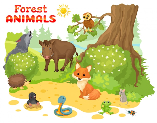 Wild animals on edge of forest.