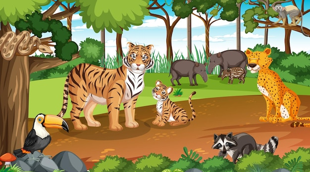 Wild animals in forest scene with many trees