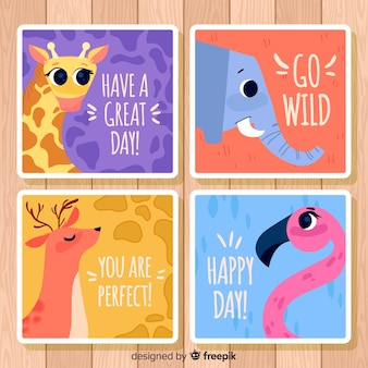 Wild animals greeting card collection. happy day