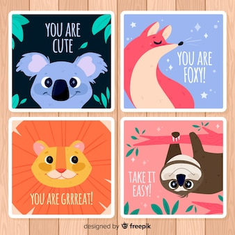 Wild animals greeting card collection. you are cute
