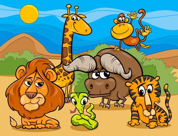 野生動物グループの漫画のイラスト