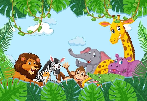 숲 프레임에 야생 동물 그룹