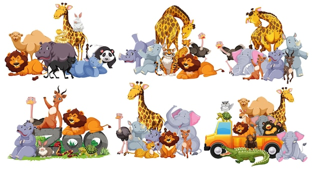 Wild animals group in many poses cartoon style isolated on white