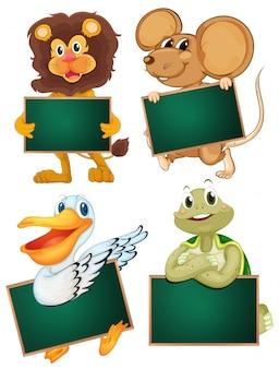 Wild animals holding blank boards