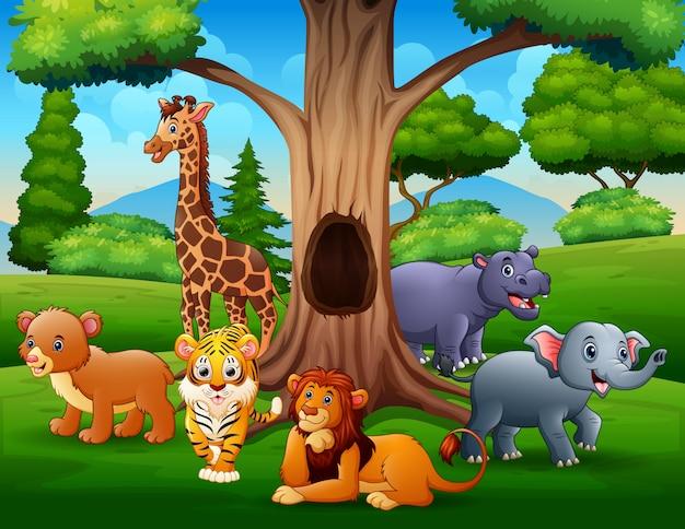 Wild animals under the hollow tree landscape