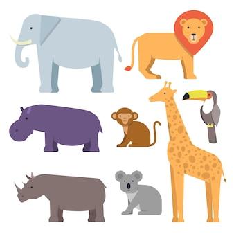 Дикие животные в плоском стиле. коллекция векторных изображений