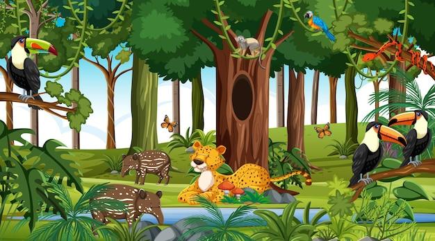 낮에 자연 숲 장면에서 야생 동물