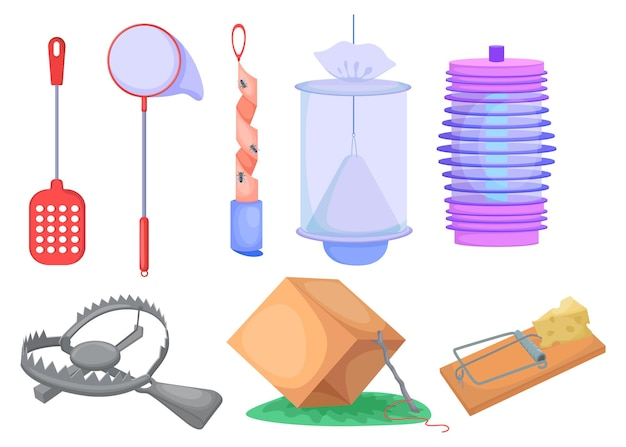Wild animals and insects traps set. metal trap for bear, mousetrap, net and box isolated on white.
