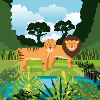 Wild animals in the jungle scene