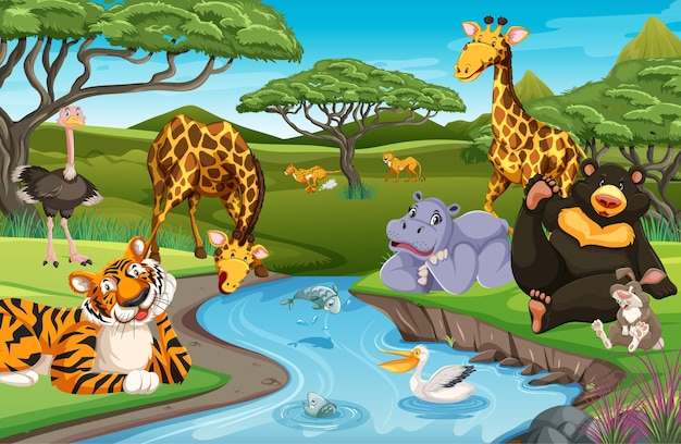 Animali selvaggi nella giungla