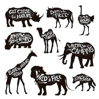 Wild animals lettering black icons set