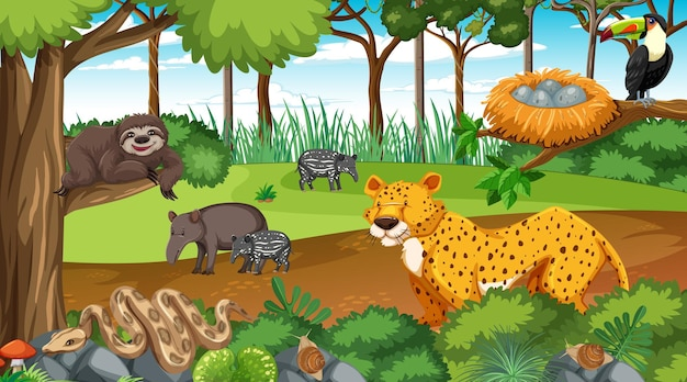 Wild animals in nature forest scene at daytime