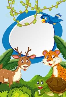 Wild animals in nature frame