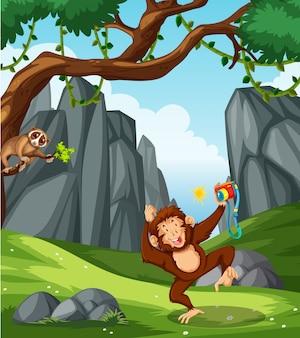 Wild animals in nature scene