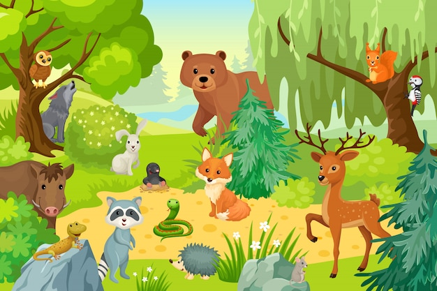 Дикие животные в лесу.