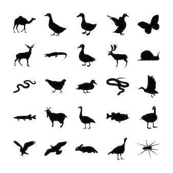 Wild animals pictograms set