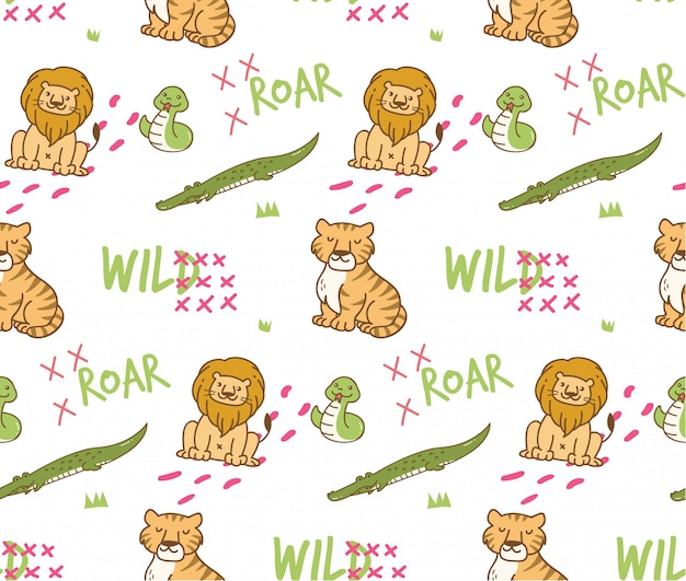 Wild animals seamless background
