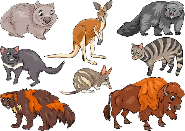 Wild animals set cartoon illustration