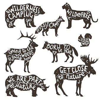 Wild animals silhouettes with lettering