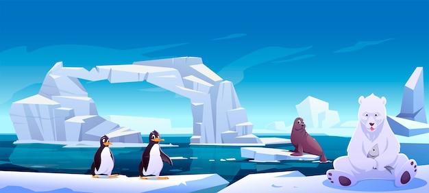 Дикие животные, сидящие на льдинах в море, белый медведь с рыбой, пингвины и тюлень. жители антарктиды или северного полюса на открытом воздухе, в океане. звери в природе фауны, иллюстрации шаржа