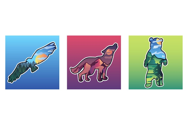 Wild animals vector illustrations set. flying bird, wolf and bear silhouette stickers with landscape