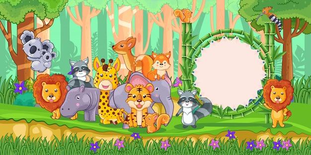 Дикие животные с пустым знаком бамбука в лесу