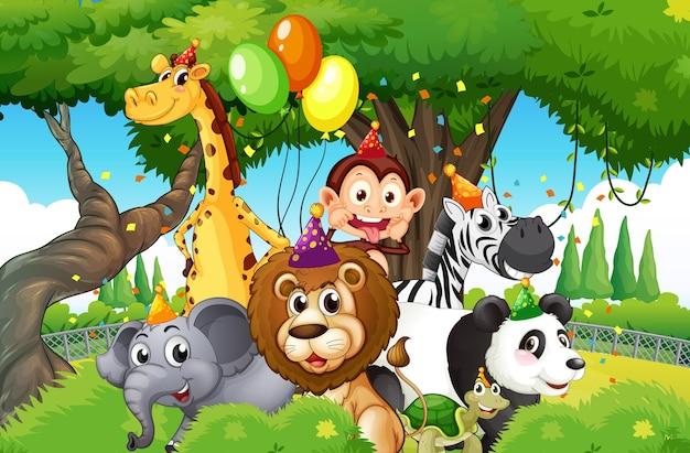 자연 숲 배경에서 파티 테마로 야생 동물