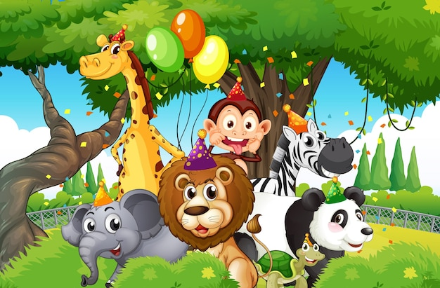 Wild animals with party theme in nature forest background
