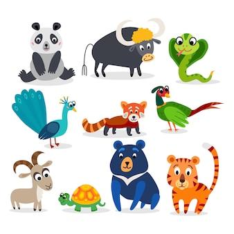 フラットスタイルで設定された野生のアジアの動物