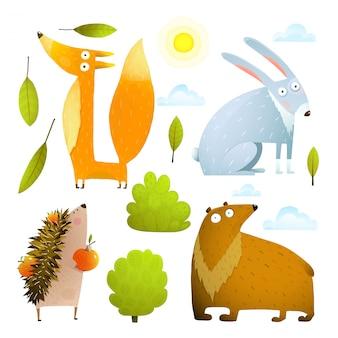 야생 아기 동물 클립 아트 컬렉션 여우 토끼 곰 고슴도치