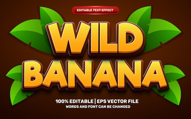 Wild banana cartoon comic hero funny kids adventure 3d editable text effect