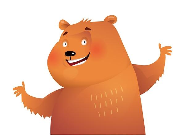 野生のクマの動物のショーやグリーティングカードの空白のデザイン。白で隔離の水彩画のスタイルで、子供のためのかわいい動物のキャラクターデザイン。