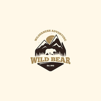 Wild bear logo. outdoor camp logo
