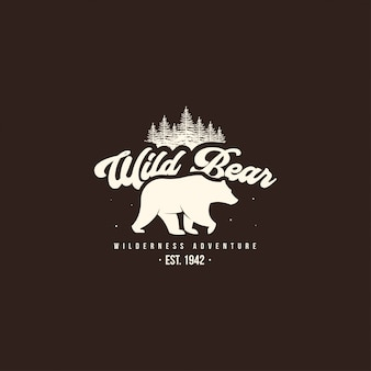 Wild bear logo. outdoor camp logo